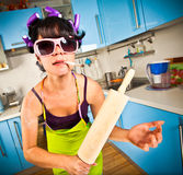 Crazy housewife. In an interior of the kitchen Stock Image