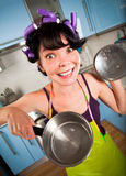 Crazy housewife Royalty Free Stock Photography