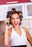 Crazy housewife Stock Photo