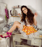 Crazy housewife on kitchen Stock Image