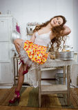 Crazy housewife on kitchen Stock Photo