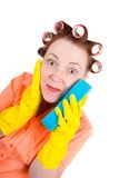 Crazy housewife maid cleaner with sponge royalty free stock photo