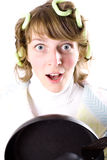 Crazy housewife with pan Stock Image