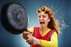 Crazy housewife with pan. And curlers on her head Royalty Free Stock Photography