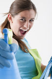 Crazy Housewife With Spray Bottle Royalty Free Stock Image
