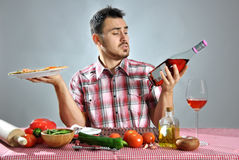 Crazy hungry man eating pizza Royalty Free Stock Photography