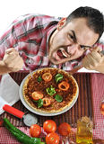 Crazy hungry man eating pizza Royalty Free Stock Photo