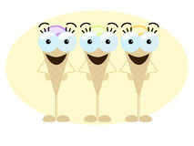 Crazy ice cream trio Royalty Free Stock Photo