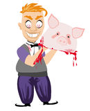 Crazy insane butcher covered with blood Royalty Free Stock Photo