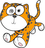 Crazy Insane Leopard Vector Illustration Stock Images