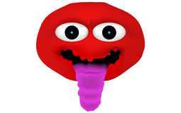 Crazy and insane red emoticon with lolling tongue (tongue out of Stock Photo