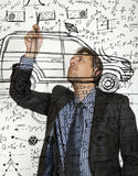 Crazy inventor. Photo compilation, photo and hand-drawing elements combined Stock Photos