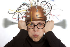 Crazy inventor. Helmet for brain research Stock Image