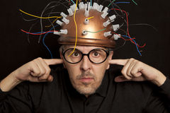 Crazy inventor Stock Image