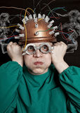 Crazy inventor with helmet Stock Photography