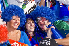 Crazy Italy Soccer Supporters - FIFA WC. Soccer Fanatics supporting Italy Stock Photos