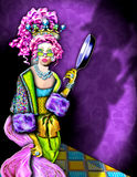 Crazy jeweled queen. A whimsical illustration of a bejeweled woman holding a frying pan stock illustration
