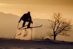 Crazy jumping skier on winter afternoon Stock Photo