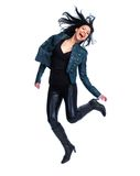 Crazy jumping woman. Royalty Free Stock Image