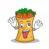 Crazy kebab wrap character cartoon. Vector art stock illustration