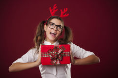 Crazy lady with gift Stock Photos