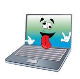 Crazy laptop cartoon Royalty Free Stock Image