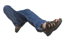 Crazy Legs. Blue jean clad legs, climbing, isolated on white background royalty free stock images