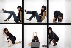 Crazy lifestyle. Young woman in six boxes isolated on white going crazy Royalty Free Stock Photos