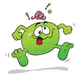 Crazy lime cartoon. Jumping crazy happy lime cartoon Stock Image