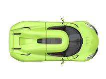 Crazy lime green supercar - top down view Royalty Free Stock Photography