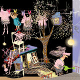 Crazy little home, crazy messy house. Next to a big tree, laundry lane and a girl and a woman in weird clothes, raster illustration over a black background Royalty Free Stock Images