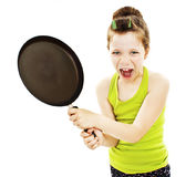 Crazy little housewife with pan Royalty Free Stock Photo