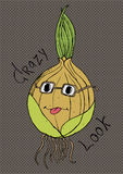 Crazy look onion cartoon character Royalty Free Stock Photo