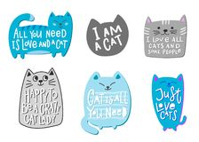 Crazy love cat lady shirt quote lettering Royalty Free Stock Image