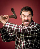 Crazy lumberjack Stock Photography