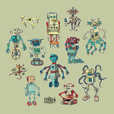 Crazy machines.  cartoons and retro. Royalty Free Stock Photography