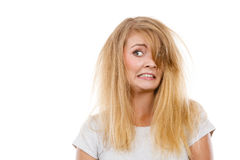 Crazy, mad blonde woman with messy hair Royalty Free Stock Photography
