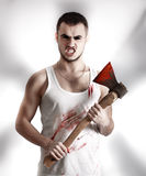Crazy mad ripper with an ax Stock Photography
