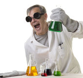 Crazy mad scientist with discovery royalty free stock photo