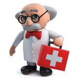 Crazy mad scientist plays at being doctor by carrying first aid kit in 3d. 3d render of a crazy mad scientist plays at being doctor by carrying first aid kit in stock illustration