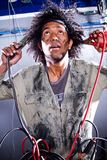 Crazy male mechanic Royalty Free Stock Photography