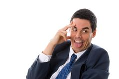 Crazy man. In a panic in a blue suit Royalty Free Stock Photo