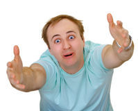 Crazy man. With passionate gesture isolated on white background Royalty Free Stock Photography