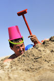 Crazy man and beach joke Royalty Free Stock Images