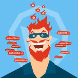 Crazy Man Blogger With Like Video Blog Concept. Crazy Man Face Blogger With Like Thumb Up Video Blog Concept Flat Vector Illustration Royalty Free Stock Photo
