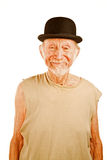 Crazy man in bowler hat. Crazy senior man in bowler hat on white background stock photos