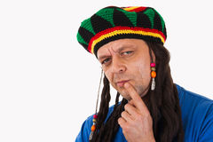 A crazy man with dreadlocks wig Royalty Free Stock Images