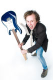 Crazy man with electro guitar. High angle view Stock Photos