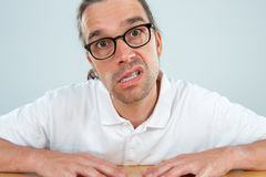 Crazy man. With glasses is angry Stock Photos