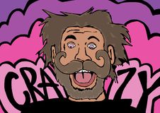 Crazy man. Image of a crazy man with big moustache Royalty Free Stock Photos